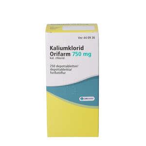 """Kaliumklorid """"Orifarm"""" 750 mg 250 stk"""