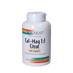 Cal-Mag 1:1 Citrat Kapsler + D-vitamin (180 stk)