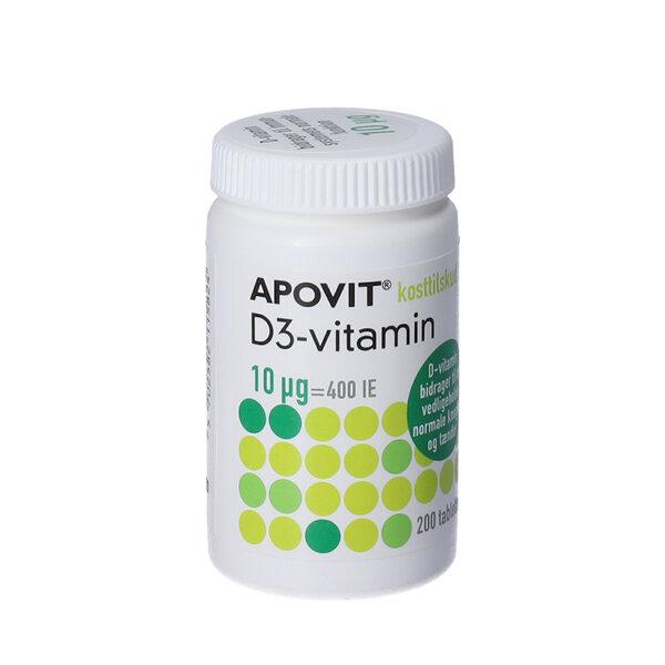 Apovit D3-vitamin tabletter  (10 mikg) 200 stk