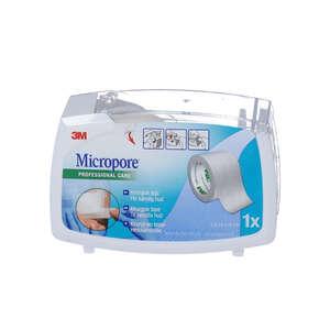 3M Micropore Papirtape m. dispenser (hvid, 2,5 cm)